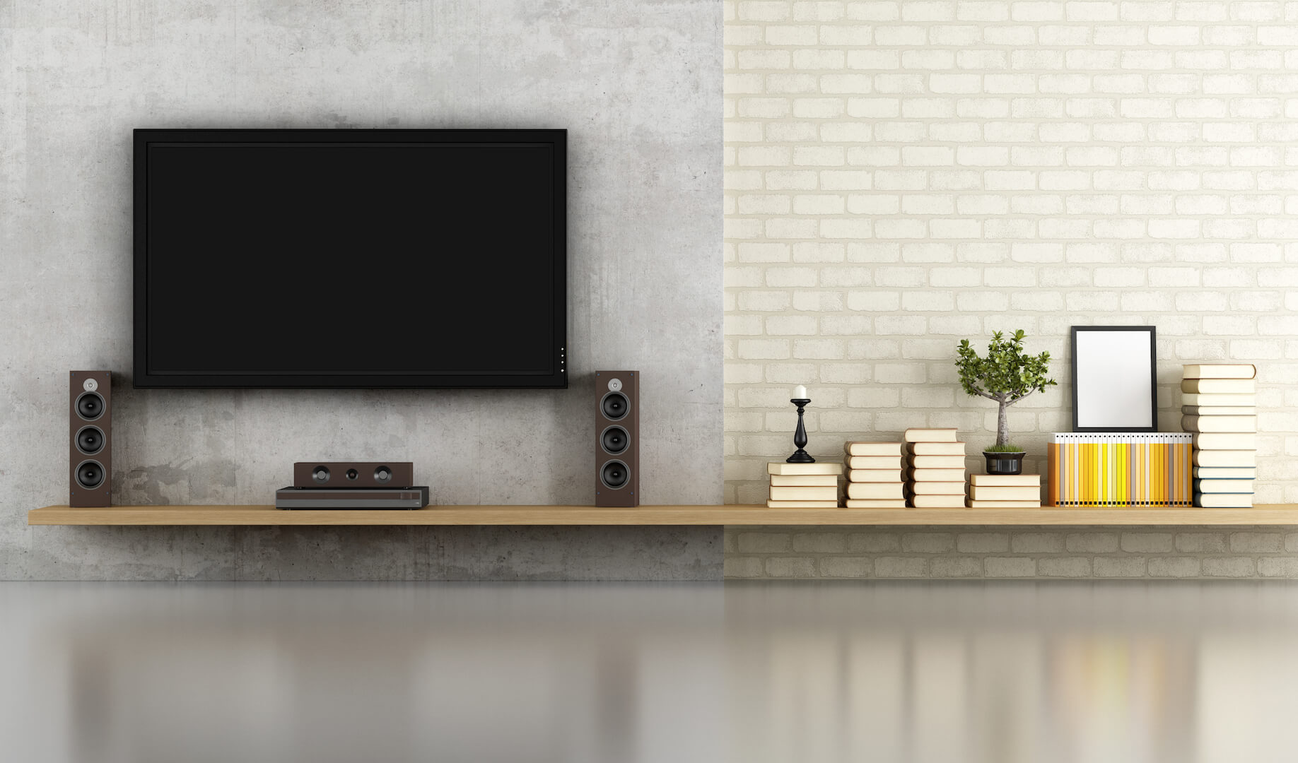 living room without furniture with shelf tv and concrete panel - rendering